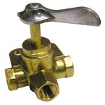 1/4 FEMALE PIPE THREAD BRASS 3 WAY VALVE
