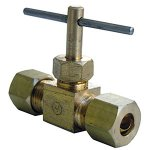 3/8 COMPRESSION X 3/8 COMPRESSION STRAIGHT BRASS NEEDLE VALVE